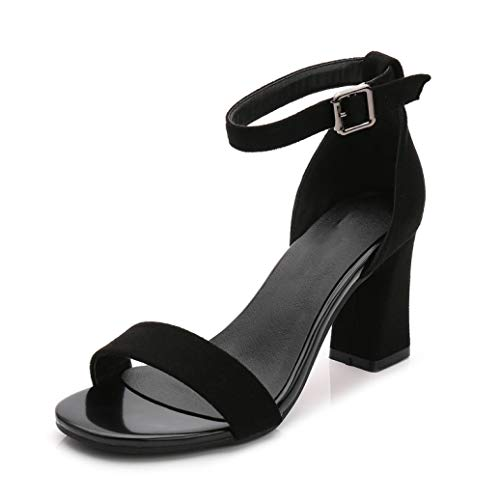 Crimeng Women Chunky Heeled Sandals Summer Open Toe High Heel Ankle Strap Party Dress Lady Pumps