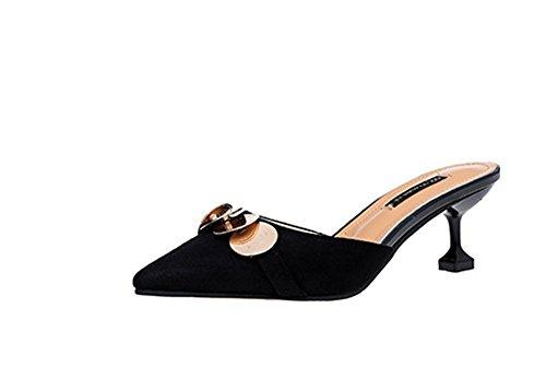 Occasionnels Femmes Baotou L'Été YUCH Chaussures des Chaussons Talon black 04EfgwFxq