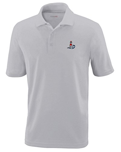Nautical Port Lighthouse Embroidery Performance Polo Shirt Golf Shirt - Platinum, X Large