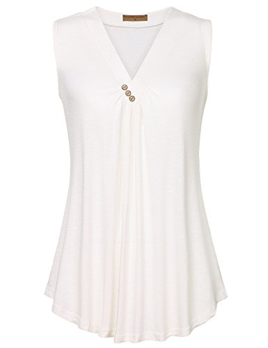 (Meow Meow Lace MML Womens Sleeveless V Neck Shirts Pleated Front Flowy Tank Print Tops B-White 2XL)