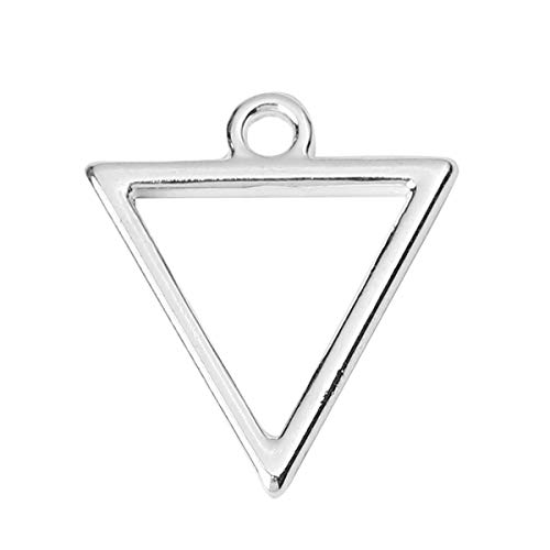 """PEPPERLONELY 20pc Plated Silver Alloy Geometric Triangle Charms Pendants 18x16mm (6/8"""" x 5/8"""")"""