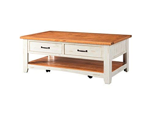 (Martin Svensson Home 890126 Rustic Coffee Table Antique White and Honey)