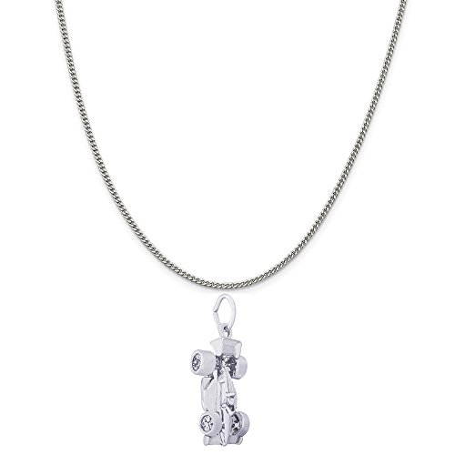 Rembrandt Charms 14K White Gold Indy Car Charm on a 14K White Gold Curb Chain Necklace, 18