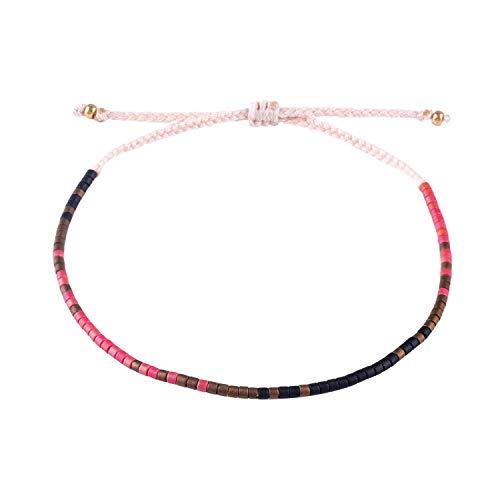 (KELITCH Handmade Friendship Bracelet Braided Rope Japanese Seed Bead String Bracelets Adjustable for Women Girls 8D)
