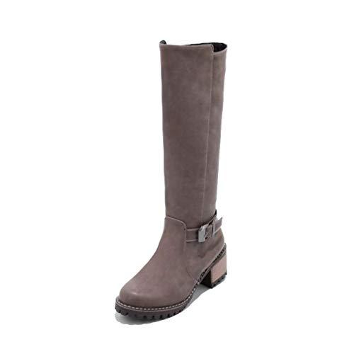 Heels Warm nbsp;punk Fashion Toe Boots Haoliequan Women Footwear 43 High Zipper Shoes 34 Vintage Size Round Gray Knee nbsp; H1E8z