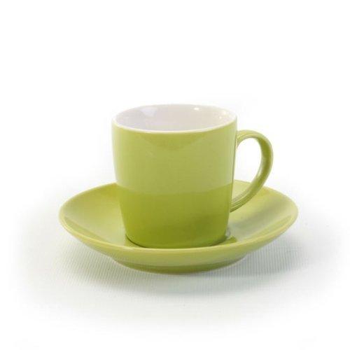 BIA Cordon Bleu 2 Tone Espresso Cup and Saucer, Set of 4 -Green