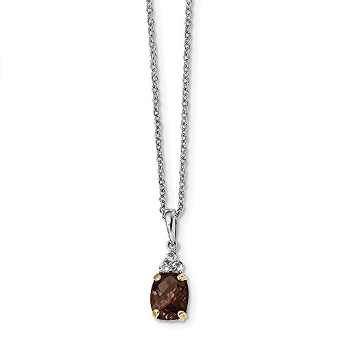 925 Sterling Silver 14k Smoky Quartz White Topaz Chain Necklace Pendant Charm Gemstone Fine Jewelry Gifts For Women For -