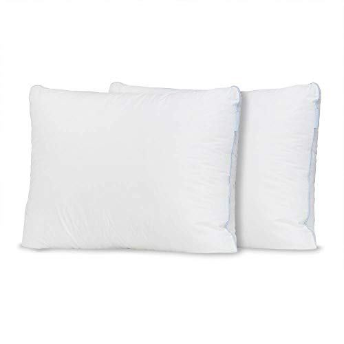 eLuxurySupply Premium Overstuffed Down Alternative Bed Pillow with 100% Cotton Casing - High Density for Back and Side Sleepers - High Loft Pack of 2 Pillows - Standard/Queen Size