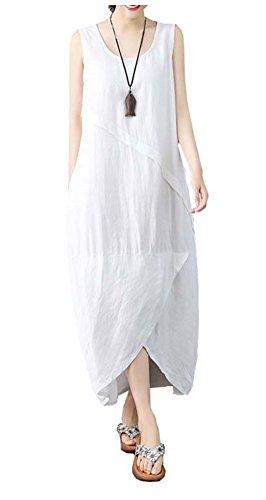 Ninmon Shares Women's Irregular Dress Sleeveless Cotton Linen Loose Casual Long Dress (Style A White, XL)