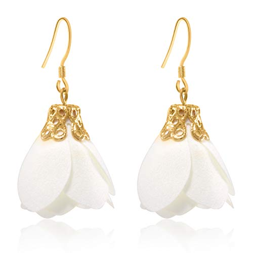 Flower Tassel Earrings Fabric Dangle Drop 925 Silver French Hook Jewelry for Women's (White)