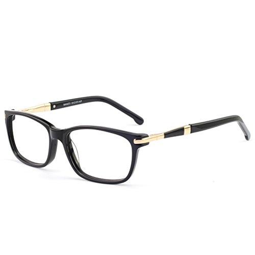 OCCI CHIARI Women Eyewear Frames Fashion Optical Acetate Eyeglasses With Clear Lenses (A-Black(Anti Blue Light))