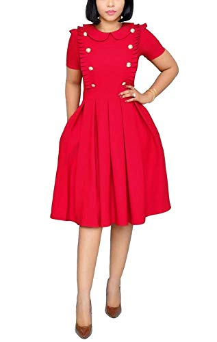 (OLUOLIN Women's Long Sleeve Bodycon Dress - Elegant Business Suits Tie Neck Peplum Pencil Dress Red)
