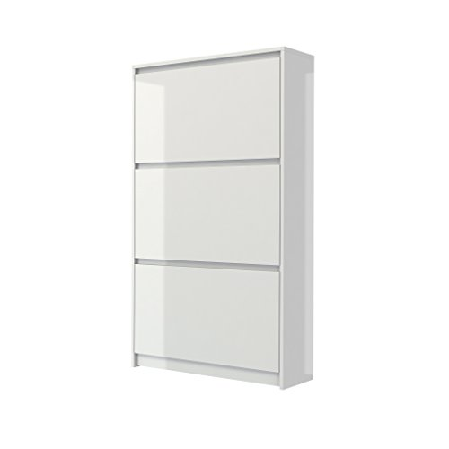 Tvilum 71008uuuu Bright 3 Drawer Shoe Cabinet, White High Gloss - Drawer Shoe Cabinet