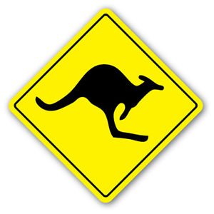KANGAROO CROSSING Sticker xing Stickers kid Australia animal lover gag funny gift (Kangaroo Road Sign)