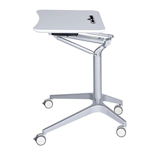 Computer Cart Workstation Desk Mobile (GreenForest Mobile Laptop Desk Height Adjustable Standing Rolling Cart with Pneumatic Lifting and Lockable Casters, Sit-Down to Stand-Up Computer Desk for Home Office, White and Silver)