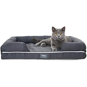 "LOAOL 4"" Durable Waterproof Memory Foam Pet Bed Mattress Orthopedic Dog Sofa Couch with Changeable Cover (M, Woven Gray)"