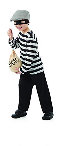 (Kids Burglar Costume Childrens Classic Robber Striped Swag Bag Outfit -)