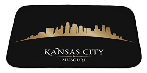 Gear New Memory Foam Bath Rug, Kansas City Missouri Skyline Silhouette Black, 34x21, - Tiles Carpet Kansas City