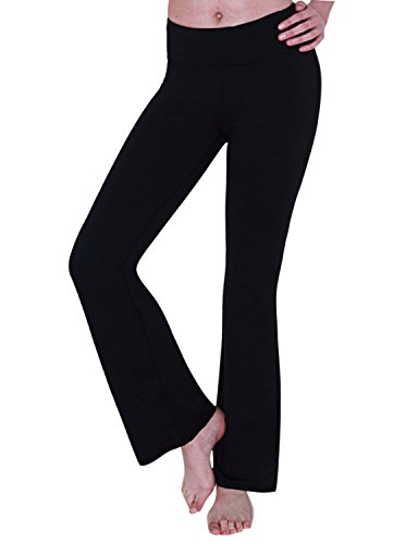 Yogareflex Women's Boot-Leg Fitness Yoga Running Lounge Pants Workout Leggings , Black , Small