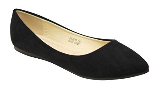 Bella+marie+Angie-53+Women%27s+Classic+Pointy+Toe+Ballet+PU+Slip+On+Suede+Flats+Black+9