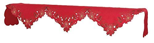 Xia Home Fashions Holiday Spirit Embroidered Cutwork Christmas Mantle Scarf