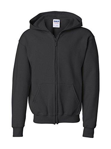 Gildan Big Boys' Heavy Blend Ribbed Full-Zip Hooded Sweatshirt, Blk, Large Blk Hoodie