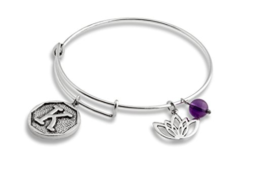 Amethyst Eyes (Lotus Amethyst New Beginnings Initial Expandable Wire Bangle Bracelet   SPUNKYsoul Collection (K))