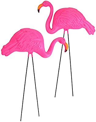 Bright Pink Flamingo Yard and garden Ornament pack of 2
