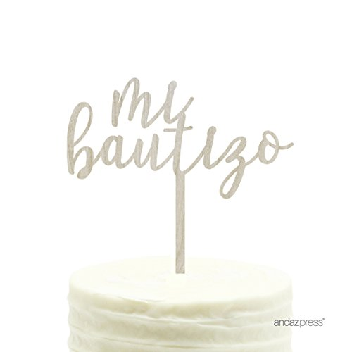 Andaz Press Baby Baptism Wood Cake Toppers, Mi Bautizo, 1-Pack