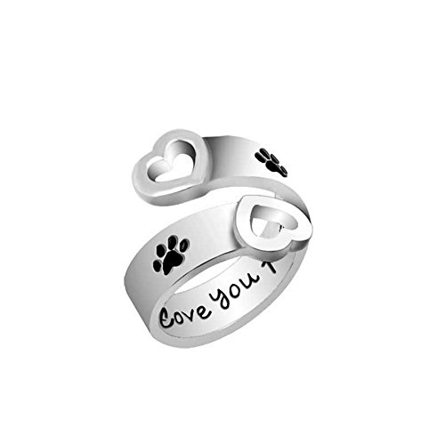 (Letter I Will Love You Forever Curved Pet Paw Prints Rings Dog Cat Memorial Black Enamel Ring Couple Lover Jewelry )