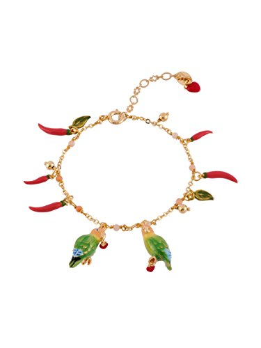 Les Néréides LOVE BIRDS COUPLE AND CHILI SEMI-PEARLY BRACELET - Green - O/S by Les Néréides