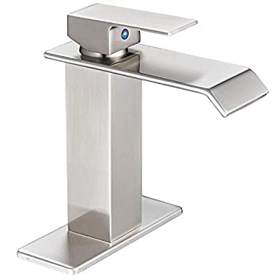 Homevacious Bathroom Sink Faucet Single Handle Bath Waterfall Lavatory Faucets One Hole Lever Basin Mixer Tap Deck Mount Spout Supply Hose CUPC