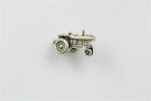 Sterling Silver 3-D Tractor Charm - Jewelry Accessories Key Chain Bracelet Necklace Pendants