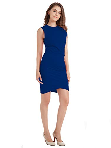 ZURIFFE Women's Summer Sleeveless Ruched Jersey Bodycon Tulip Midi Tank Sheath Dress