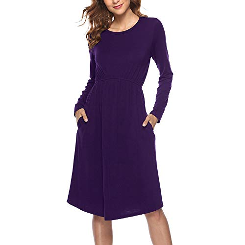 Women Casual Dress,Lovewe Women's Casual Solid Long Sleeve Evening Party Prom Dress Shirt Dress (Purple, L)