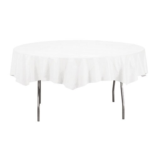 Creative Converting 923272 Octy-Round Paper Table Cover, 1-Ply, White (Pack of 12) ()