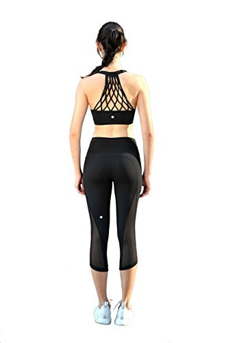 16520d19ee917 Galleon - Women s Yoga Bra Light Support Cross Back Wirefree Pad Soft  Queenie Ke Size M Color Black Nest