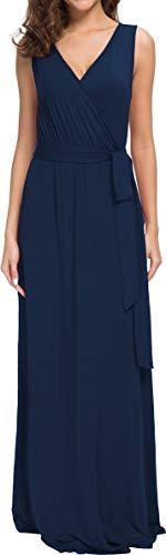 (POKWAI Women Sleeveless Maxi Dress Casual Long Dresses Beach Dresses Bohemian Dresses(Navy Blue M) )