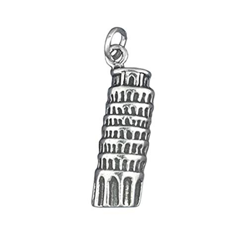 Sterling Silver Leaning Tower of PISA Italy Charm Pendant - lp3060 Jewelry Making Supply Pendant Bracelet DIY Crafting by Wholesale Charms