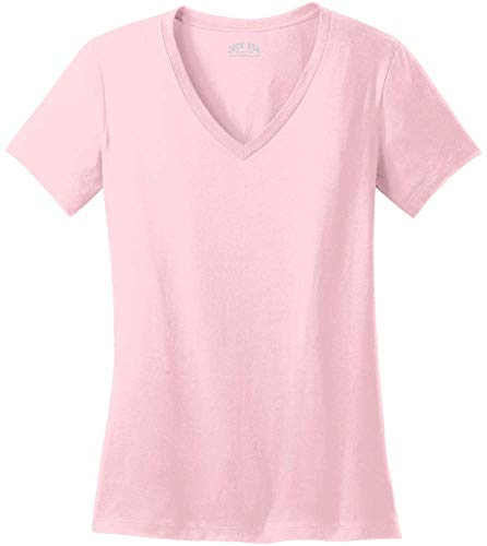 Joe's USA - Ladies Soft V-Neck T-Shirts in Sizes XL Light Pink ()