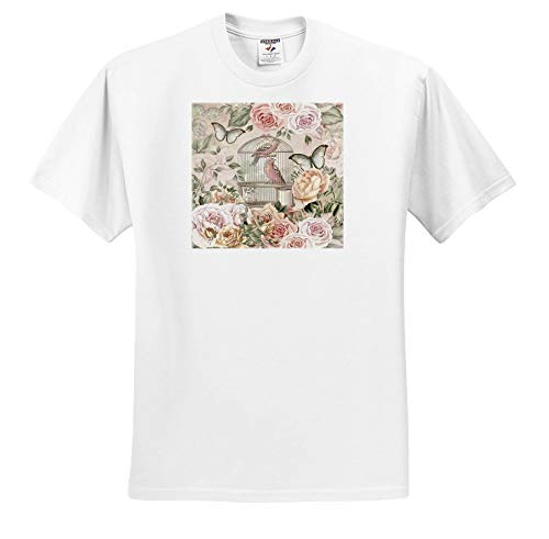 Price comparison product image Andrea Haase Art Illustration - Vintage Birdcage and Roses in Soft Pastel Colors - T-Shirts - Youth T-Shirt Large(14-16) (ts_289014_14)
