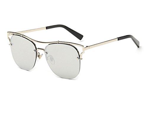 Konalla Fashion Half Cat Eye Frame Flash Mirror Women's Sunglasses - Half Oakly Jacket