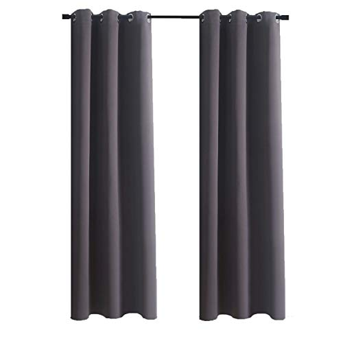 Aquazolax Grommets Blackout Curtains Set Blackout Curtain Drapery 42x84-inch Thermal Insulated Drapes Premium Quality for Bedroom Windows, 1 Panel, Grey