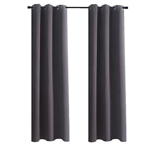 Aquazolax Grommet Top Bedroom Blackout Curtains Solid Window Curtain Panels Drapes 42