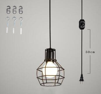 Kiven Plug-In dimmable vintage Pendant Lamp 15 Foot Black Cord with On/Off Dimmer Switch bulb not included ul listed (TB0193)