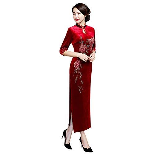 Rosso Donna Tradizionale Orientale Cheongsam Costume Abito Lungo Vintage Goyajun Qipao Di Cinese Per Velluto Abbigliamento 1x6Aq4