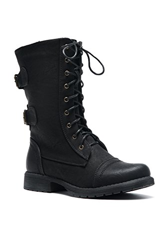 Herstyle Florence2 Women's Military Lace Up, Double Buckled, Middle Calf Combat Boots...