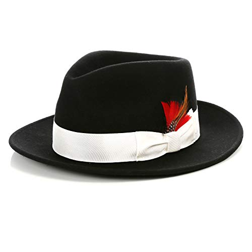 Ferrecci Wool Crushable Black Fedora with White Band & Removable Feather - Unisex, Men's, Women's Panama Gangster Traveler Hat