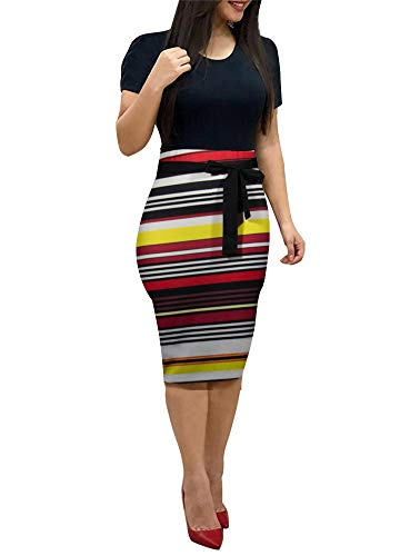 Women' Short Sleeve Bodycon Dress - Cute Bowknot Floral Pencil Dress Medium Black and Stripes and White