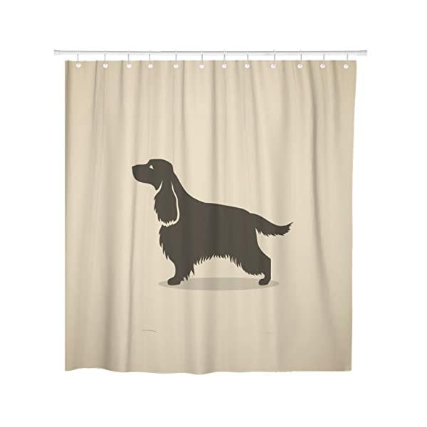 TOMPOP Shower Curtain Silhouette English Cocker Spaniel Dog Hair Long Animal Beautiful Waterproof Polyester Fabric 78 x 72 Inches Set with Hooks 4